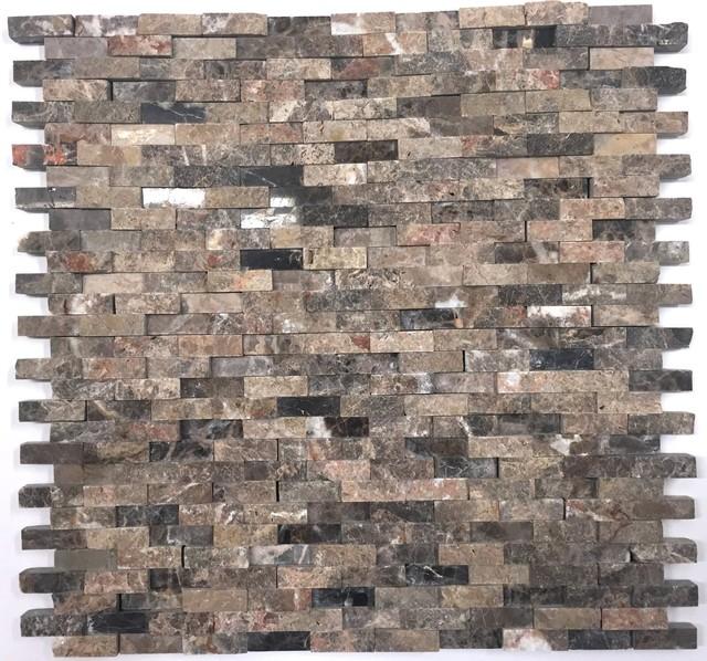 natural stone emperador splitface mosaic tile sheet dark brown marble