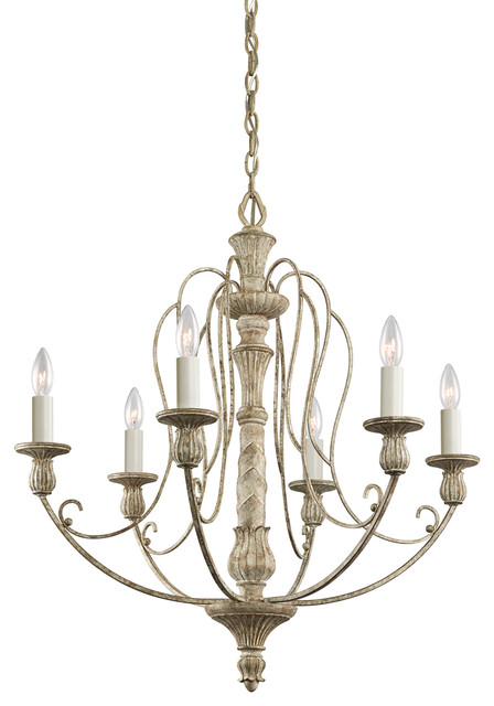 Hayman Bay 6 Light Chandeliers Distressed Antique White