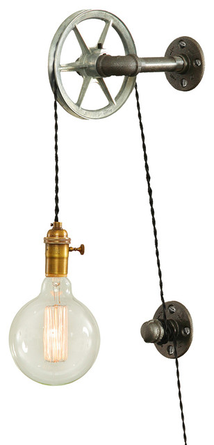 West Ninth Vintage Steel Pulley Wall Light Wall Sconces