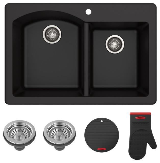 forteza 33 drop in undermount granite composite 60 40 kitchen sink black