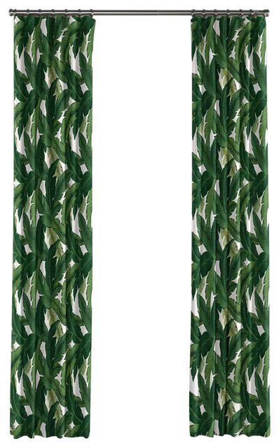 Shop Houzz Loom Decor Green Banana Leaf Curtain Single Panel Ring Top Curtains