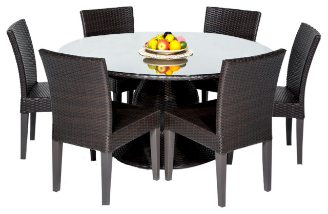napa 60 outdoor patio dining table with 6 armless chairs