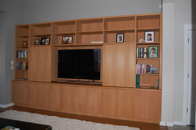 Built In Wall Units Modern Living Room Austin By