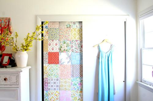 Wallpapered Bedroom closet