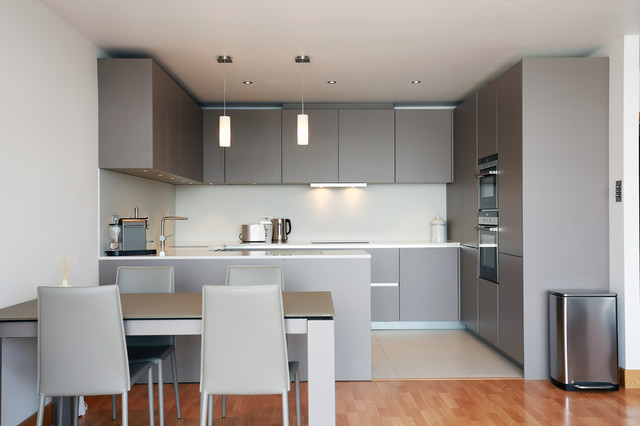 Open Plan Grey Kitchen Design