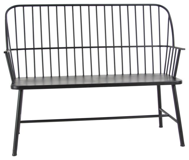 traditional 38 x48 black iron patio bench