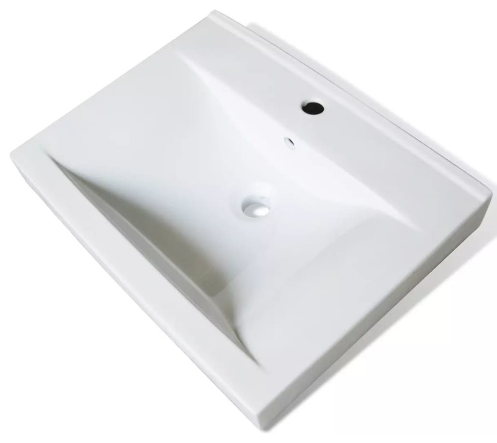 vidaxl ceramic basin w faucet hole 23