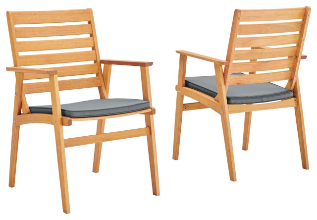 modway syracuse eucalyptus wood outdoor patio dining chair set of 2
