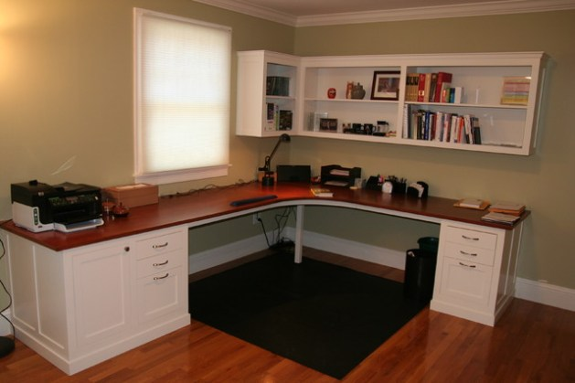 Custom desk  with shelving above   Traditional   Home Office     Custom desk  with shelving above traditional home office