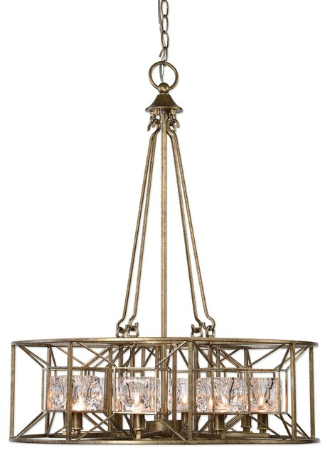 Midcentury Modern Faceted Round Cage Chandelier Swedish Gold Silver Glass Transitional Chandeliers