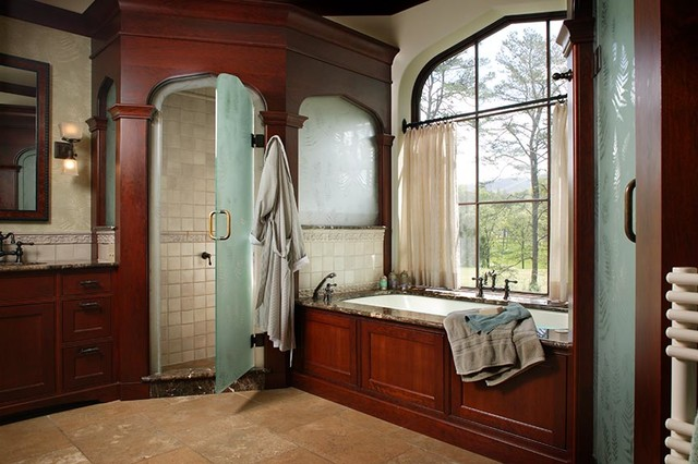 Art Nouveau Tudor Interior Traditional Bathroom