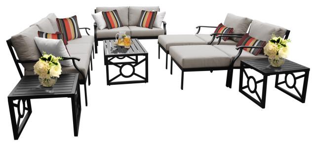 kathy ireland madison ave 12 piece outdoor aluminum patio furniture set 12h