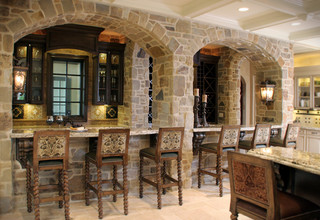 Stone Bar With Arched Facade Mediterranean Kitchen