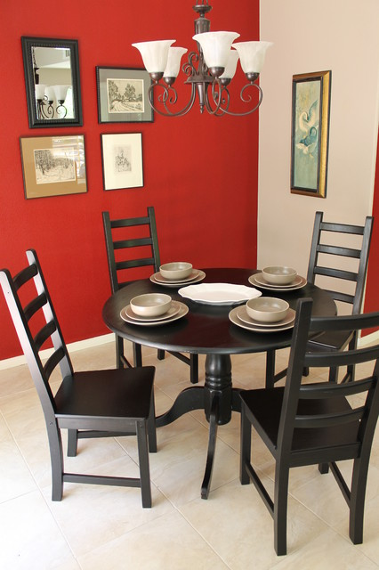 Red Walls And Black Dining Tables Amp Chairs Eclectic Dining Room Los Angeles By Madison