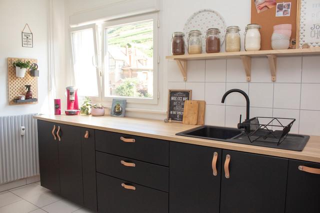 cuisine ikea noire et bois scandinave