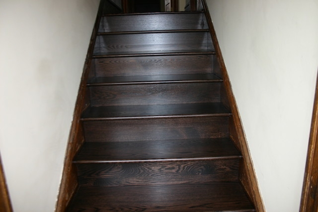 Replacement Old Douglas Fir Steps With Naw Red Oak Treads Risers   Red Oak Stair Risers   Stair Tread   Stair Parts   Flooring   Stain   Modern Retro