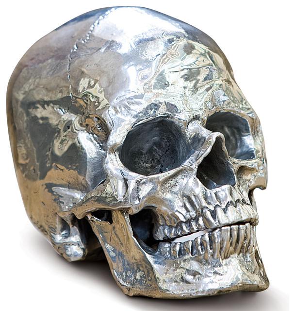Hamlet Industrial Loft Polished Nickel Metal Skull