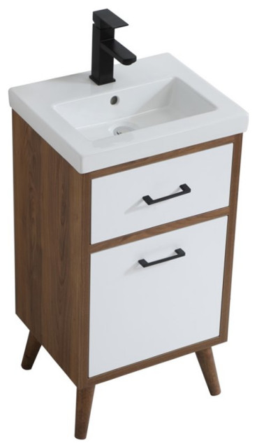 elegant decor boise 18 porcelain top bathroom vanity in matte white