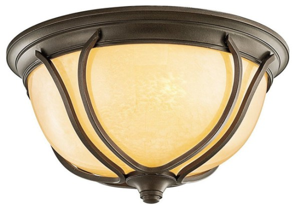 Kichler Olde Bronze and Feathered Cream Glass Exterior Flush Mount     Kichler Olde Bronze and Feathered Cream Glass Exterior Flush Mount Light  craftsman outdoor flush