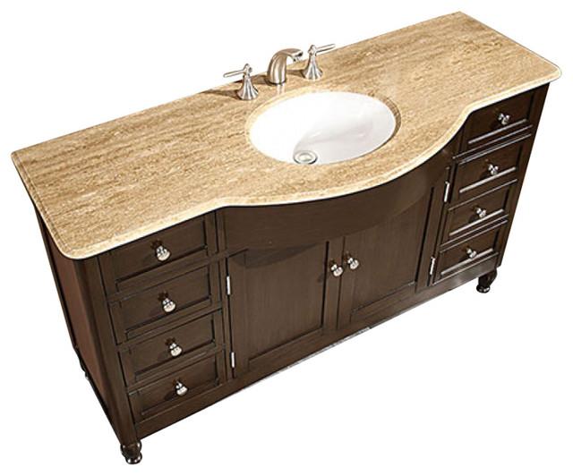 58 inch large walnut bathroom vanity single sink choice of top transitional