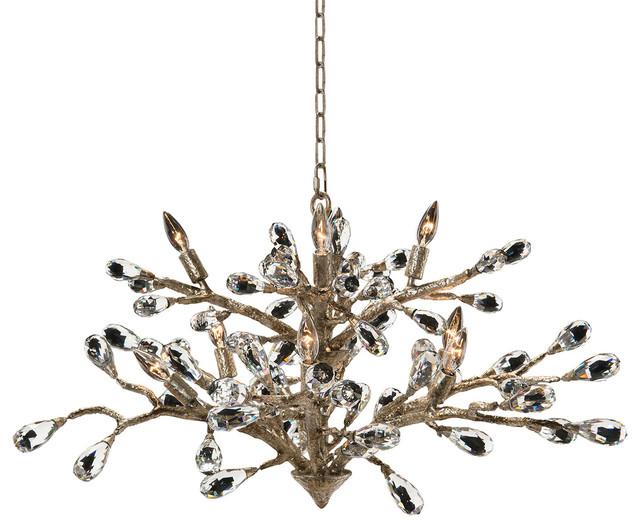 Elmsley Modern Brushed Gold Branch Crystal Drop Chandelier Chandeliers