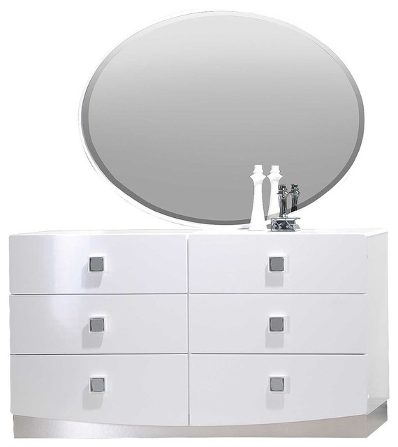 france white modern dresser and mirror 2 piece set