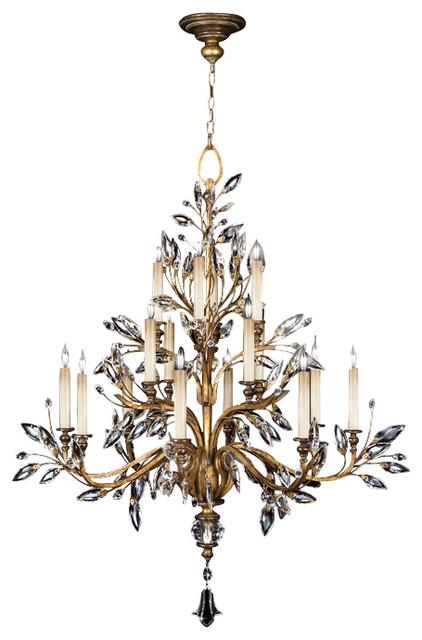 Fine Art Lamps 773740st Crystal Laurel Gold Leaf 16 Light Chandelier Traditional Chandeliers