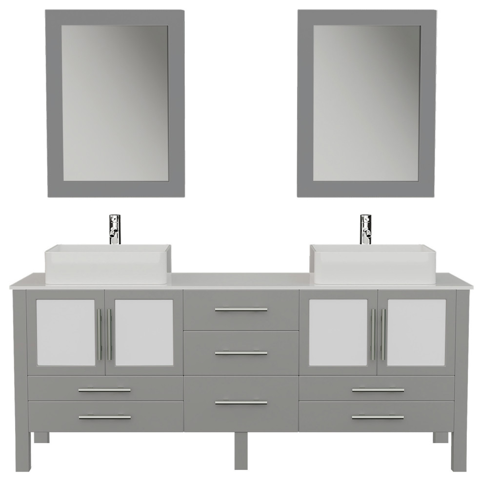 71 gray double vessel sink bathroom vanity with white porcelain top and sinks