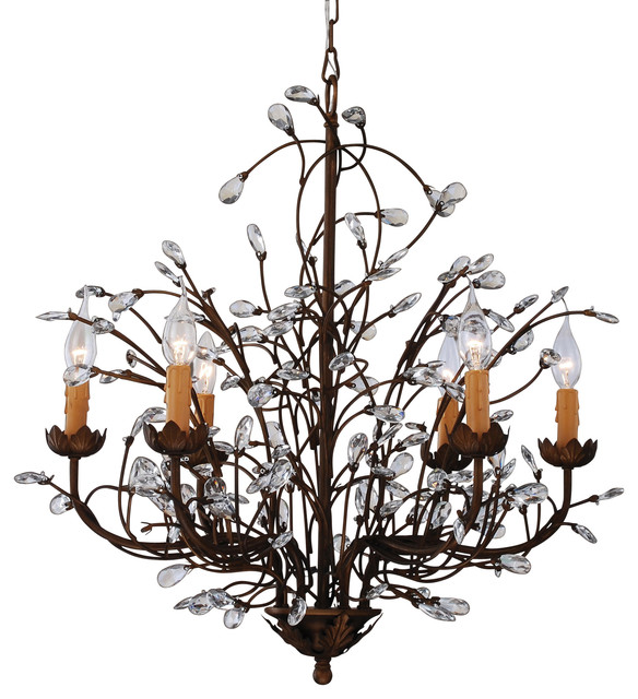 Grand Charlotte Splendid Antique Bronze 6 Light Crystal Chandelier Contemporary Chandeliers