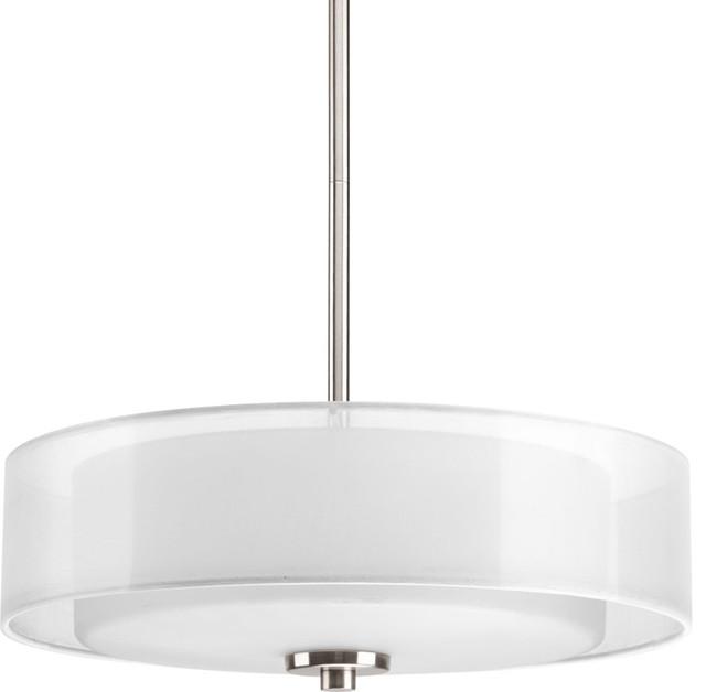 Progress Lighting P3694 09 3 Light Semi Flush Convertible With White Silk Mylar
