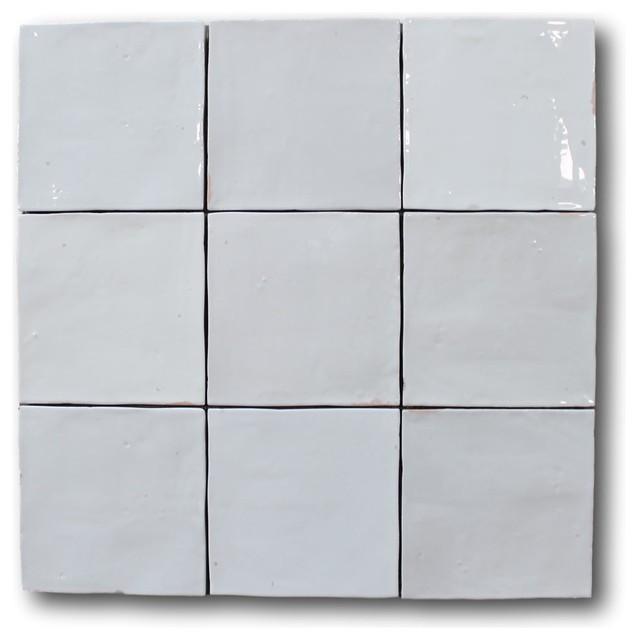 mestizaje zellige 5 x 5 ceramic tiles white gloss color sample