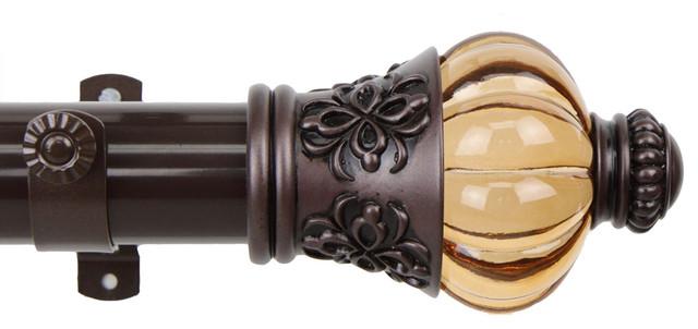 rod desyne decorative royal curtain rod 1 5 od mahogany 28 48