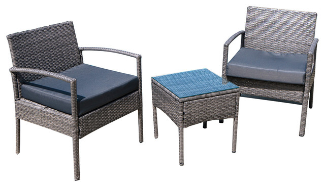 cushioned outdoor wicker patio 3 piece set gray