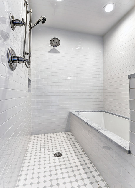 Wet Room Tub Shower Combo Traditional Bathroom