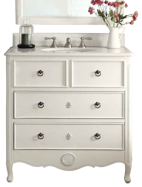 distressed rustic farmhouse bathroom vanity antique white 34