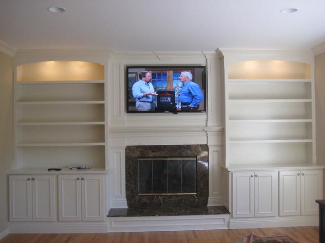 Custom Built Mantle, Cabinets And Bookshelves