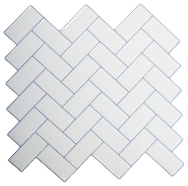 herringbone peel stick wall tiles 10x10 white 6 pieces