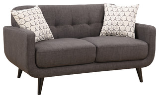 Crystal Upholstered Mid-Century Tufted Loveseat With 2 Accent Pillows, Charcoal