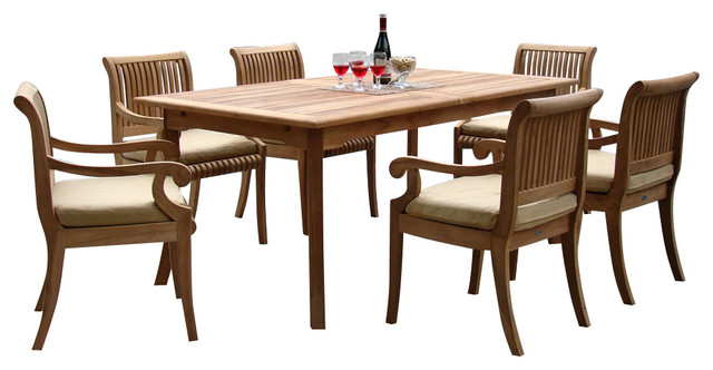 "7-Piece Outdoor Teak Dining Set 94"" Rectangle Extension"