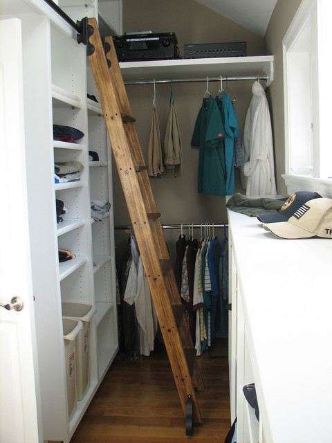 Rolling Library Ladder Traditional Closet By Custom