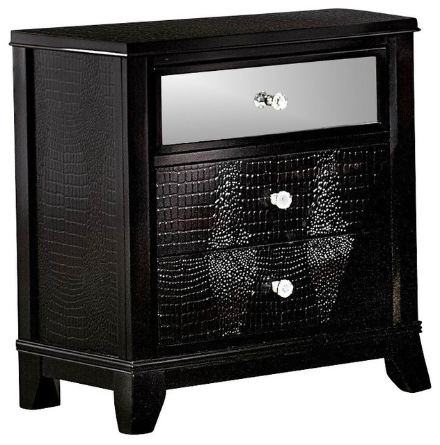 Jacqueline Mirrored Drawer Front Nightstand Black Faux Alligator Contemporary Nightstands