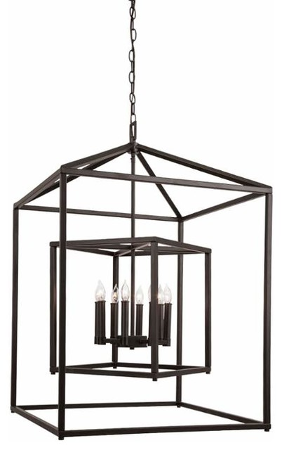 8 Light Cage Chandelier Oil Rubbed Bronze Transitional Chandeliers