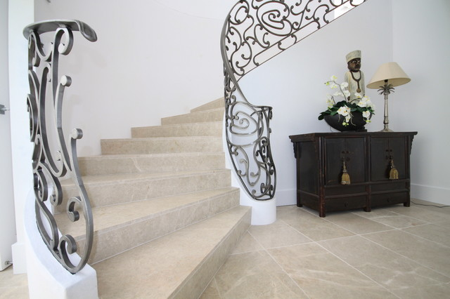 Staircase With White Marble Flooring Design Photos