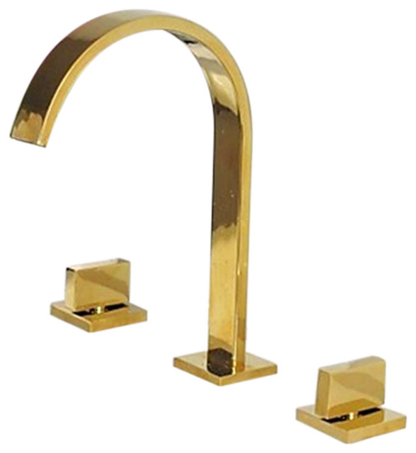 venice gold plated bathroom 3 piece sink faucet dual handles centerset mixer tap