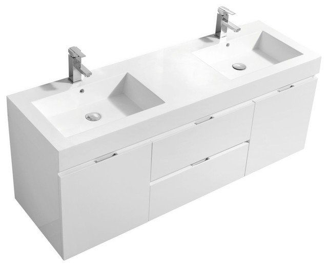 Bliss Double Sink Wall Mount Modern Bathroom Vanity 60 Contemporary Bathroom Vanities And