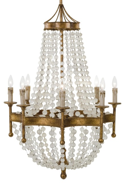 Nicole French Country Antique Gold Crystal 8 Light Chandelier Traditional Chandeliers