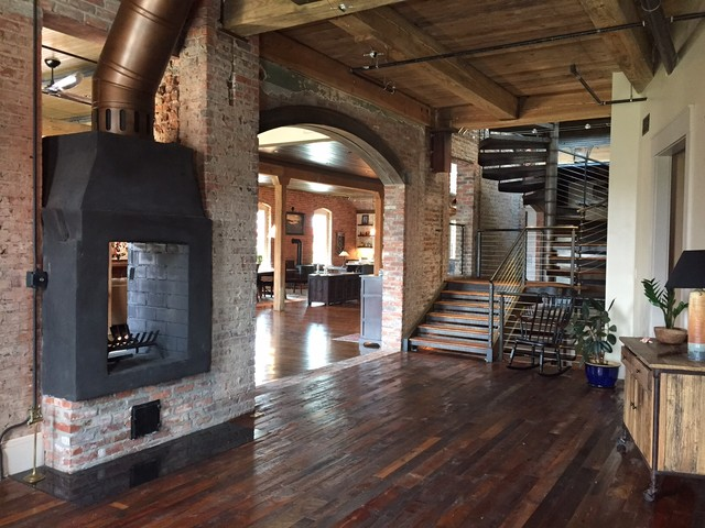 Downtown Durham NC Loft Renovation Of A 100 Yr Old Building Industrial Living Room Raleigh