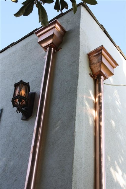 Copper Leader Heads In Pasadena Mediterranean Los Angeles By The Rain Gutter Specialists