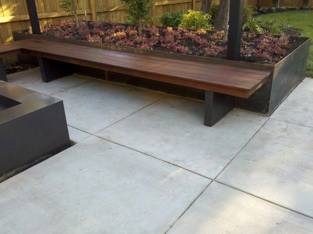 Bench, Fire Element, Planter, And Overhead