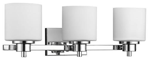 "Solbi 3-Light Chrome Finish Bath Vanity Wall Fixture White Alabaster Glass 24"""